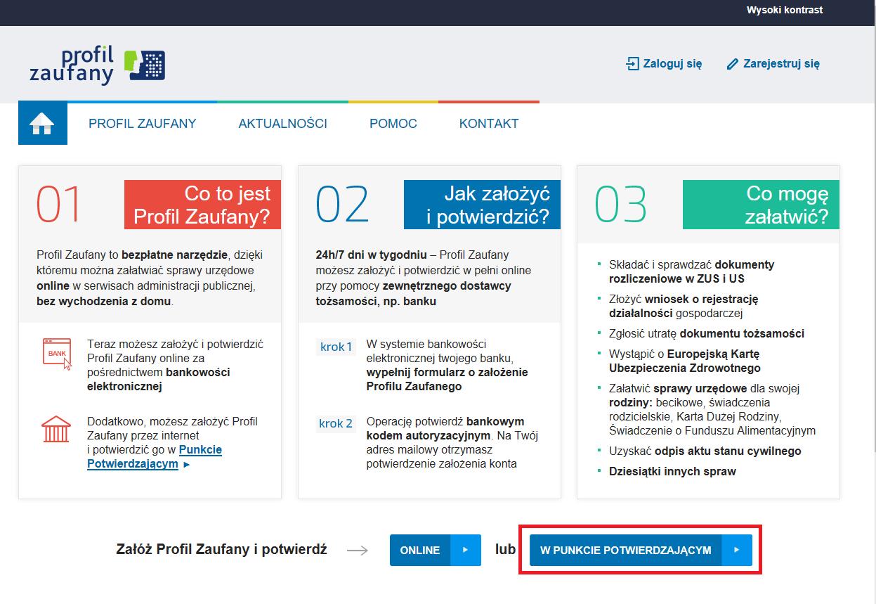 21b6b2ea48a50e Szczegóły dotyczące tej formy rejestracji zostały opisane w odrębnych  instrukcjach na naszej stronie, dotyczących założenia profilu Zaufanego  przez ...
