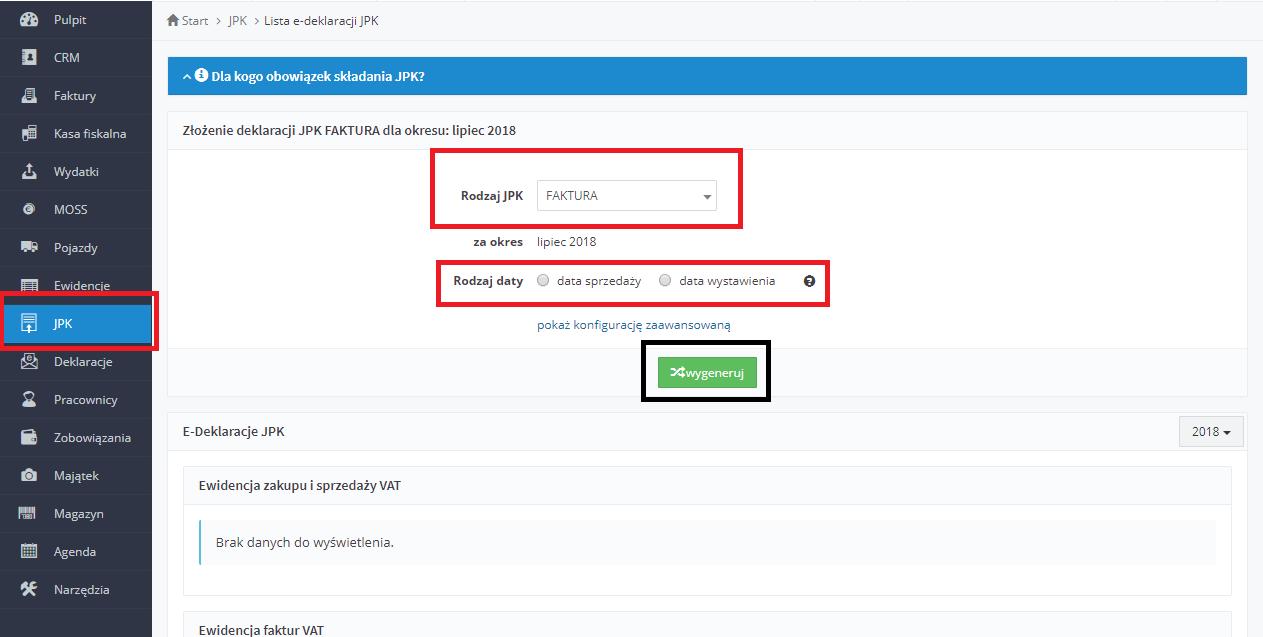 aaf0b419365bbd Serwis przeniesienie Użytkownika do następnej strony, gdzie z trzech  dostępnych wariantów wysyłania plików JPK należy wskazać wariant: Klient  JPK, ...