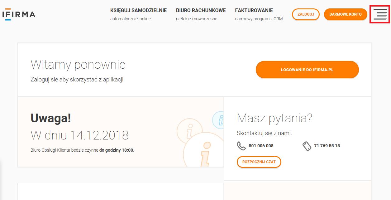 ad4c31db255119 Klienci nieposiadający konta w serwisie znajdą go na stronie serwisu  ifirma.pl wchodząc w pasek zakładek znajdujący się w prawym górnym rogu  obok opcji ...